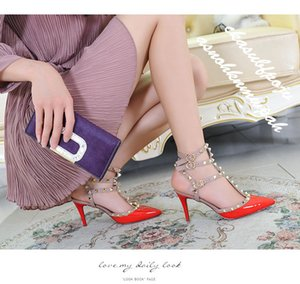 2019 Hot Sale Designer shoes Pointed Toe 2-Strap with Studs high heels Patent Leather rivets Sandals Women Shoes valentine high heel Shoes