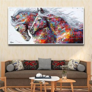 2020 Hot Abstract Watercolor Horse Animals Oil Painting Wall Art Canvas Pictures for Bedroom Living Room Large Modern Home Decor Posters