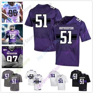 Costumbre Noroeste del jersey del fútbol de la universidad Aidan Smith Hunter Johnson Drake Anderson Riley Joe Lees Gaziano Alex Miller Bowser McGowan