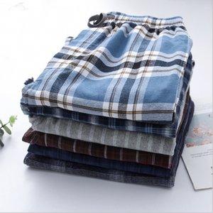 2020 Spring Men 100 Double cotton sleep bottoms Male plus size nighty trousers Men Casual loosen Men's Underwear Underwear Plaid pajama pant