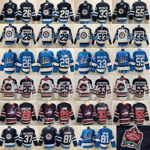 Winnipeg Jets 29 Patrik Laine Jersey 26 Blake Wheeler 55 Dustin Byfuglien Mark Scheifele 81 Kyle Connor Hellebuyck 37 Hokey Beyaz Mavi