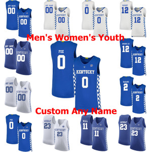 Kentucky Wildcats College Basketball Maillots 3 Tyrese Maxey Jersey Jamal 23 Murray Aaron 0 Fox 10 Johnny Juzang 12 Villes Cousu sur mesure