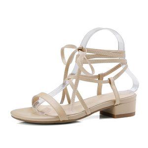 QUTAA 2018 Donna Sandali in pelle di mucca + Scarpe Fashion PU Donne Piazza della piattaforma tallone punta rotonda sandali alta qualità delle donne il formato 34-40