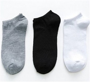 Solide Couleur Hommes Chaussettes Eté Blanc Noir Gris cheville Chaussettes de sport Casual __gVirt_NP_NN_NNPS<__ Sous-vêtement respirant et absorption de la transpiration