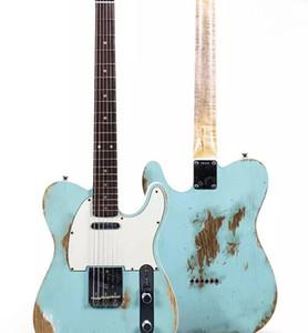 제조사 맞춤형 팝 TELE 블루 일렉트릭 기타, 텔레 세레 기타. 레드 우드 규모. 손에 유물.