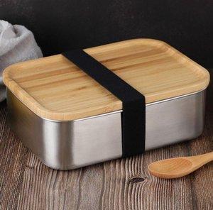 800ml Food Container Lunch Box com tampa de bambu de aço inoxidável Bento caixa de madeira Top 1 camada Food Kitchen Container fácil para Take KKA7844