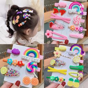 1 Takım Kawaii Karikatür Meyve Çiçek Prenses Tokalar Çocuk Kız Çocuk Saç Klipler Pin Aksesuarları Tokalarım Toka Headdress