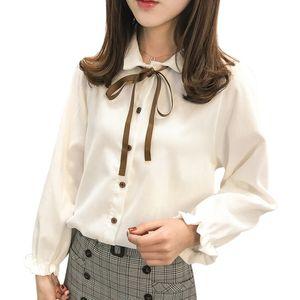 Fashion Women Bow Slim White Shirt Office Ladies Long Sleeve Blouse Spring Autumn Tops