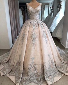 2020 Vintage Champagne Spaghetti Ball Gown Wedding Dresses Luxury Saudi Arabic Dubai Lace Appliqued Plus Size Bridal Gown