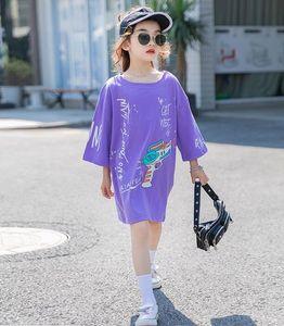 2020 best selling new summer dress girls' medium and long T-shirt half sleeve foreign style T-shirt skirt Korean version of children's loose