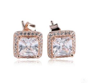 Genuine 925 Sterling Silver Yellow square stud with diamond Fit Women Bead Charm Europe Fashion Diy Jewelr