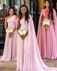 2020 Arrivée Rose Rose Robe de demoiselle d'honneur d'une épaule Une épaule A Line Dacette Applique Longued Mariage Robe d'invité