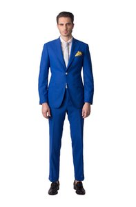 Royal Blue Mens Wedding Tuxedos Peak Lapel Groom Groomsmen Tuxedos Popular Man Blazers Jacket Excellent 2 Piece Suit(Jacket+Pants+Tie) 1290