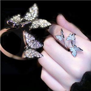 Zarte und reizende niedliche luxus schmuck 925 sterling silverrose gold füllung öffnung einstellbar 5a cz hochzeitsband schmetterling ring für frauen