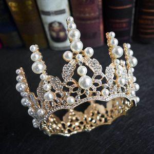 2021 Sevimli Altın İnciler Kristal Gelin Kraliçe Taçlar Genç Bayanlar Kadınlar Düğün headpieces Hairband Lusuxiour Pricess Tiaras