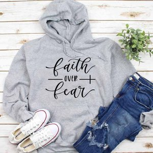 Bible Verse Cotton Grunge Crewneck Faith over Fear Christian Hoodie Religious Casual Tumblr Clothing Jumper quote Sweatshirts Y200706