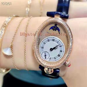 Mulher relógio Top REINE DE NÁPOLES Mulher relógio suíço Quartz Movimento Moonphase Oval 18k Rose Gold do diamante moldura cristal de safira de moda