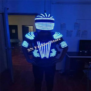 L99 LED casque danse de salon led costumes hommes robot danse vêtements led costume costume partie du spectacle sur scène dj chanteur porte performance d'éclairage
