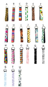 Neoprene Wristband Keychains Floral Printed Key Chain Hand Wrist Lanyard Key Ring Holder Keychain with Wristlet LJJP13