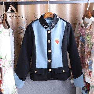 AELESEEN 2019 Autumn Hot Model Short Jacket Women Casual 착용 Single 브레스트 Botton Stand Collar Print Top Sale