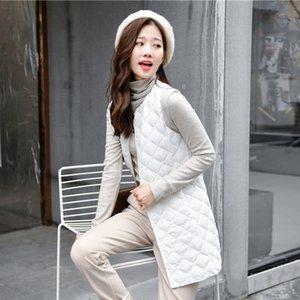 Giù maglia lunga Ultra Light Gilet senza maniche Turn-down Collar Giacca monopetto vestito caldo giacche da donna Cappotti Gilet