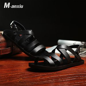 M-anxiu 2018 Summer Gladiator Genuine Leather Buckle Strap Sandal Men Casual Flat Rubber Sole Breath Antiskid Shoes