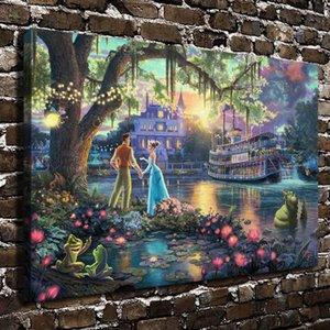 A Princesa eo Sapo, Thomas Kinkade, pintura HD Canvas Printing New Home Decoração Arte / Unframed / Framed