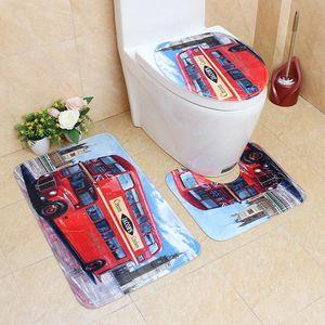 3pcs set European And American Fashion Style Toilet Floor Mat Flannel Printed Net Floor Mat Toilet Non-Slip
