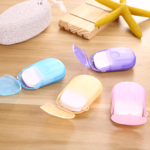 20PCS box Portable Mini Travel Soap Paper Washing Hand Bath Clean Scented Slice Sheets Disposable Boxe Soap Disinfectant Soap Paper epacket