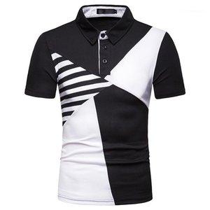 Neck manga curta Casual T-shirts Mens Clothes Painéis Mens Designer Tshirts Patchwork Color Fashion T-shirts lapela