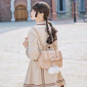 Japon yumuşak kardeş lolita süet çanta bayan kelebek kurdele kadın çantası sırt çantası öğrenci çantası ipek çiçeği