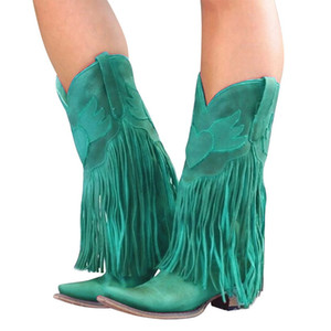 Hot Sale-Vertvie Mulheres Outono-Inverno Botas Fringe Mid-bezerro botas Feminino Cowboy Low Heel Moda Tassel Chuva calçados femininos Streetwear