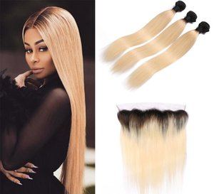 Brazilian 1B 613 Straight Blonde Ombre Human Hair Weaves 4Bundles with 13x4 Ear to Ear Lace Frontal Double Weft Human Hair Extensions