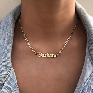 Personalizado personalizado Antiguo Inglés Nombre collares para las mujeres de los hombres del encintado Chians joyería de Hip Hop de acero inoxidable Carta Collares largos