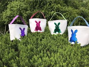 Mermaid Sequins Easter Baskets Rabbit Burlap Bags DIY Bunny Basket Easter Egg Candy Basket Storage Bag Rabbit Ears Handbag 2019 Hot