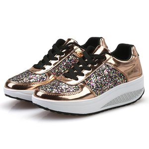Women Fashion Sneakers Ladies Wedges Sneaker Trendy Shining Sequins Platform Sports Shoes Girl Outdoor Running Lace Up Sneakers