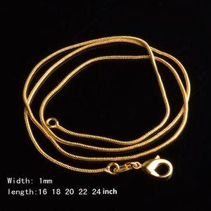 18K plateó el 1MM cadena de la serpiente collares unisex collar 16 18 20 22 24 pulgadas de joyería Declaración de bricolaje para hombres, mujeres regalo de Navidad