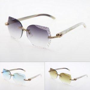 Hakiki Güneş Gözlüğü Oyma Göz Orijinal Beyaz Elmas Doğal Unisex Çerçevesiz Gözlük Güneş Lens Lens Gözlük Üçgen Kedi Güneş Gözlüğü Gözlük XPPV
