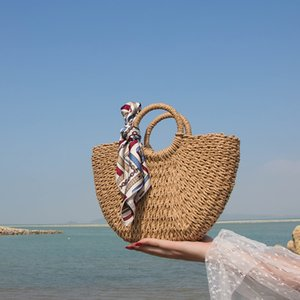 Designer- Half Straw Woven Bag Tote Knitted Women's Drawstring Fashionable Round Rattan Wicker Bags For Women Mbgej