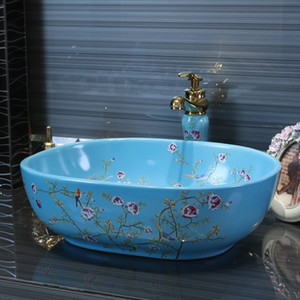 Jingdezhen ceramic sanitary ware art counter basin wash basin lavabo sink Bathroom sink chinese ceramic sinks flower and bird