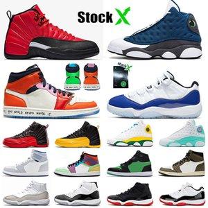 2020 Кремень 13 Jumpman Бесстрашный REVERSE FLU GAME 12 CONCORD 11 Bred Увеличить R2T Ярость Зеленый женщин людей Баскетбол обувь Размер нас 13