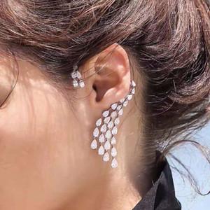 HIBRIDE de lujo del claro del diseño cúbico del oído circón Water Drop Ear Cuff mujeres pendientes izquierda de la pieza única Brincos E-864