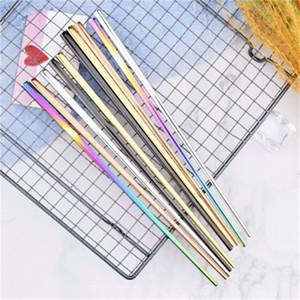 Çok Renkli 304 Paslanmaz Çelik Kare Chopsticks Karşıtı Scalding Metal bulaşığı Mutfak Yemek Kullanım Popüler Satış 3 6QD H1