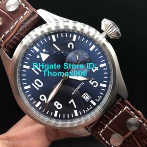 45 milímetros Atacado Relógios Melhor qualidade de aço inoxidável Relógios de pulso Big Pilot 7 Dias Power Reserve IW500901 Automático Mecânica Mens W