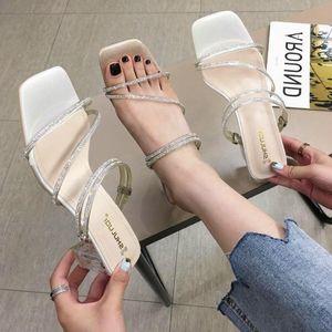 Goddess2019 Fasciola Square Sandals Group Combine Rhinestone Transparente Cristal Chinelo Grosso Com Sapato
