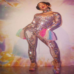 H28 Club sexy singer perform colorful rhinestones jumpsuit long sleeve diamonds leotard tights crystal siamese women bodysuit party wears