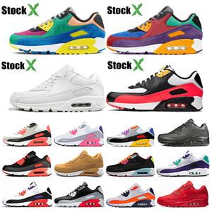 Nike air max 90 Дешевле Новый 90 мужчин и женщин кроссовки черный красный белый спортивный тренер воздушной подушке поверхности дышащий спортивные мужские кроссовки обувь 36-46