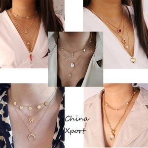 chili elephant lock moon shell pearl heart shape pendant attractive female necklaces several layers women necklace new arrival