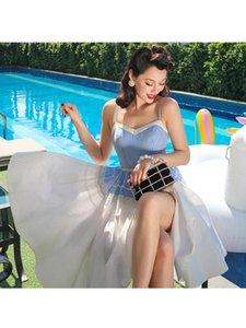 Le Palais Vintage 2019 50s Vintage Sweet Girl голубой плед белый высокой талией Свинг платье партии A-Line без рукавов Лоскутная