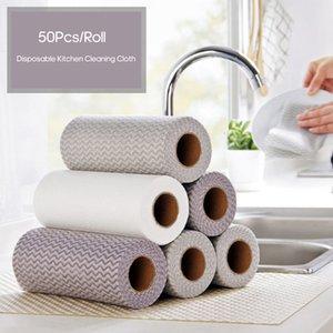 Panos de lavagem 50pcs / Roll descartáveis Cozinha pano de limpeza Limpando Rags Dishcloth Wash Oil Toalha Dishcloth seco / húmidos para a Home Office